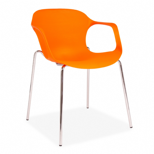 x2 or x6 Orange  Plastic Stackable Dining Chair with Metal Chrome Legs